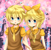 Spring: Rin and Len by mechubear