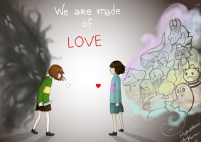 Chara and Frisk - made of LOVE by MomoAkemi