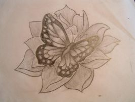 butterfly with lotus by Bella-Talent