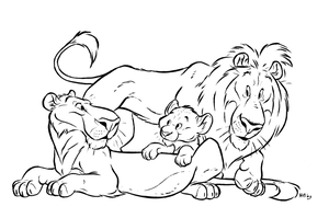 Lion coloring page by Henrieke
