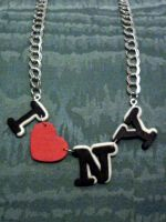 Necklace with I love NY fimo by bimbalove81
