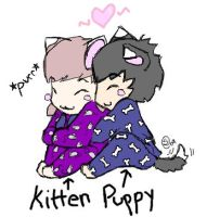 Kitten and Puppy by shaedey