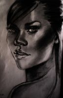 Rihanna pencil portrait HQ by Faffinette