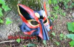 Black Red and Gold Leather Kabuki Kitsune Mask. by SilverCicada