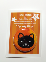 Spooky Kitty 1inch Pinback Button by AudreyMillerArt