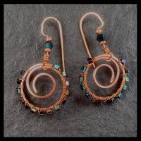 Wire-Wrapped Iridescent Green and Copper Earrings by copper9lives