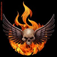 El Wings,Skull and Fire by elshazam