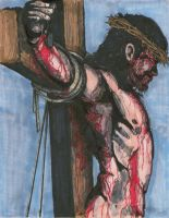 Crucifixion of Jesus on Cross by angelfire7508