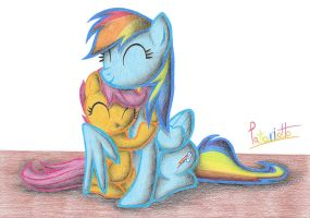 Scootaloo and Rainbow Dash by Patoriotto