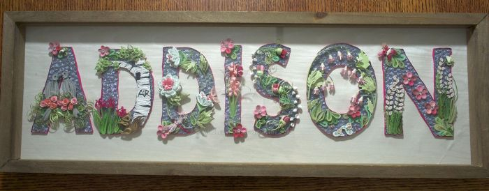 Paper Quilling Baby Name - Addison Framed by wholedwarf