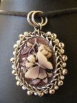 Butterfly Orbit Cameo with Silver and Pearls by BacktoEarthCreations