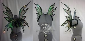 Green LED fairy wings by Lillyxandra