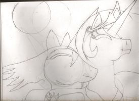 MLP Celestia and eclipse sketch by DarkAlicornWarrior