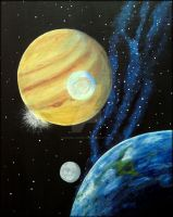 Acryl Painting... Earth-Moon-Jupiter-Europa by SteviiiLaAngello
