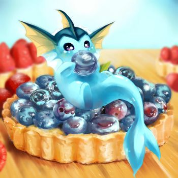 Dessert Series -- Vaporeon x Blueberry Tart by veetasoy