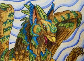 ACEO - Sky magic gryphon by Copper-Wolff