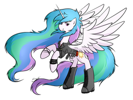 80's metal Celestia by secret-pony