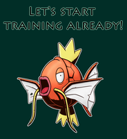 T-Shirt Design - Ambitious Magikarp by IndigoWildcat