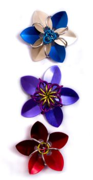 3 Chain and Scale Mail Flowers by ZoeQuinn