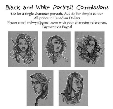 Black and White Portrait Commissions by nolwen
