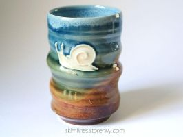 Climbing Snail Tea Cup by skimlines