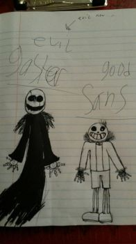 gaster (evil) and sans (good) by themariobrosgirl3