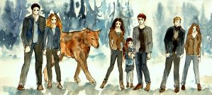 The Cullens_Watercolour Sketch by LittleSeaSparrow