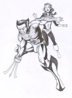 Wolverine protecting Kitty ink by Tonydonley