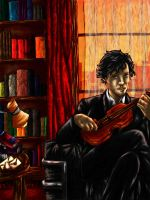 Books and violin by Raikea