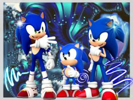 The 3 Stars of our Blue Blur by SonicXBoom123
