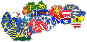 Heraldic map of counties in Slovakia by hosmich
