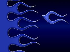 Flames - Blue on Blue Black by jbensch