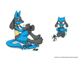 Lucario and Riolu + LBX by Yuuyatails