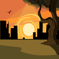 Sunset Background by GwennieBlack