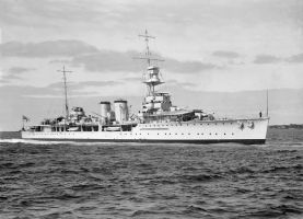 HMS Danae 1918 off Melbourne 11th January 1937 cop by lichtie
