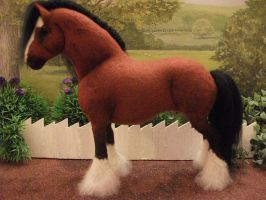 OOAK Wool felt fabric model Clydesdale horse by Tawneyhorses