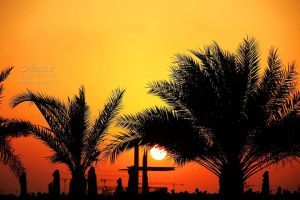sunset in Abu Dhabi Corniche by amirajuli