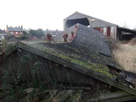 Collapsed Building Roof by fuguestock