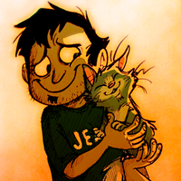 a jerk and his cat by Raaynee
