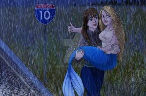 Raine and Michelle on I-10 in the Rain by Agent505