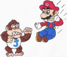 Mario VS Donkey Kong Jr. by nintendomaximus