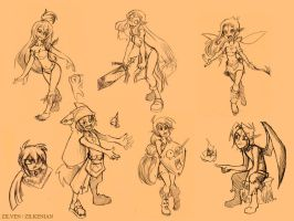 Dofus and Wakfu sketches by Zilkenian