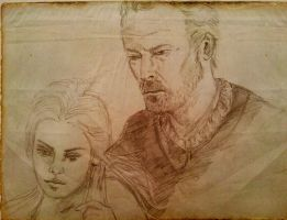 sketch Mormont and Daenerys by vincha
