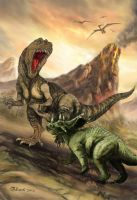 Clash of the Dinos - Megalosaurus vs Chasmosaurus by Bisanti