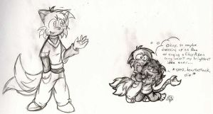 Tails as Ron Stoppable -Sketch by kat-thefox