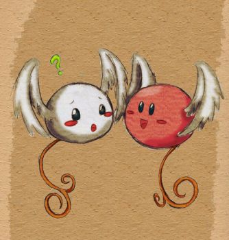 Kirby and Angel Imp Colored by MysticEden