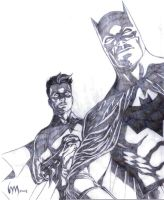 Batman and Robin sketch by wrathofkhan
