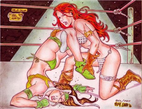 RED SONJA VS SAVAGE LAND ROGUE by RODEL MARTIN '16 by rodelsm21