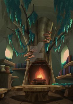 the fireplace in the stump by nerdmaso