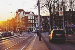 Sunset in the Streets of Amsterdam by Gypsieeee